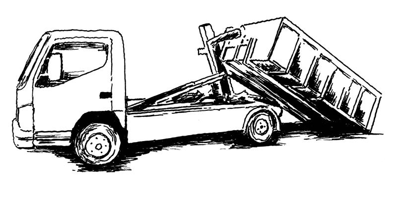 Vaihtolavankuljetusauto jättämässä vaihtolavaa paikalleen